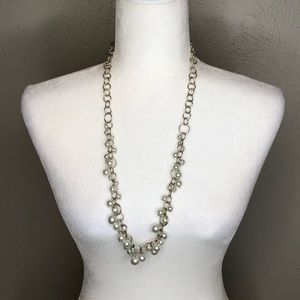 🍭 Silver pearl statement necklace, long chain
